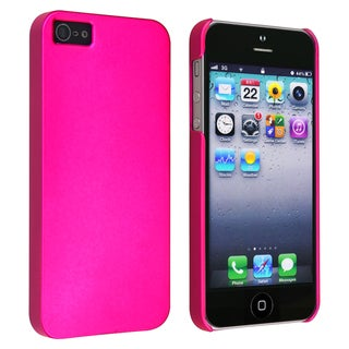 INSTEN Hot Pink Snap-on Rubber Coated Phone Case Cover for Apple iPhone 5