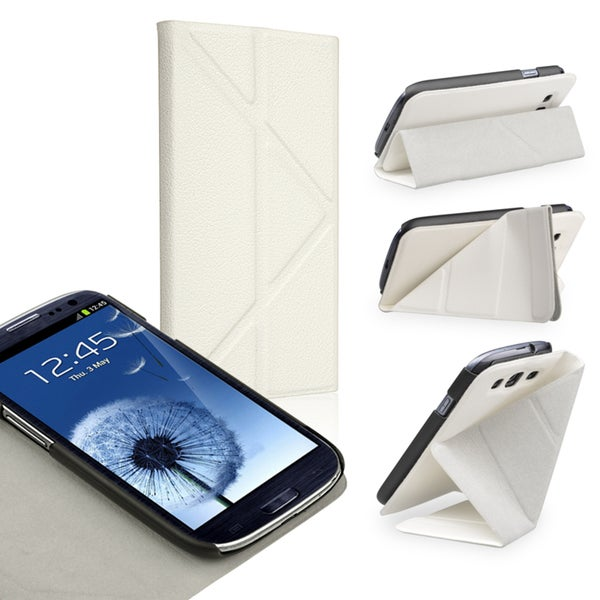 INSTEN White Leather Phone Case Cover with Stand for Samsung Galaxy S III/ S3