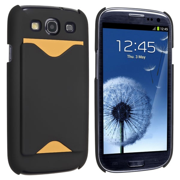 INSTEN Black Snap-on Rubber Coated Phone Case Cover for Samsung Galaxy SIII / S3