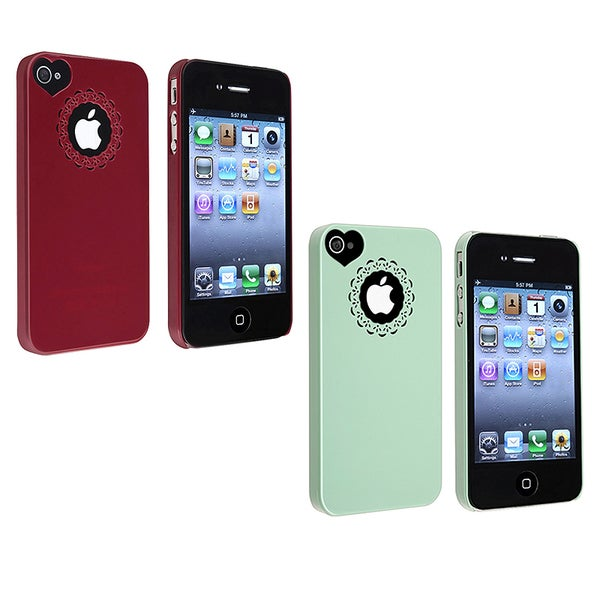 INSTEN Mint Green Sweet Heart Snap-on Phone Case Cover for Apple iPhone 4/ 4S