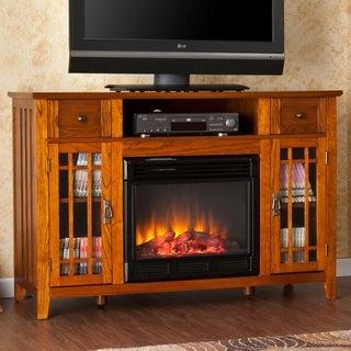Vinicio Mission Oak Electric Media Fireplace