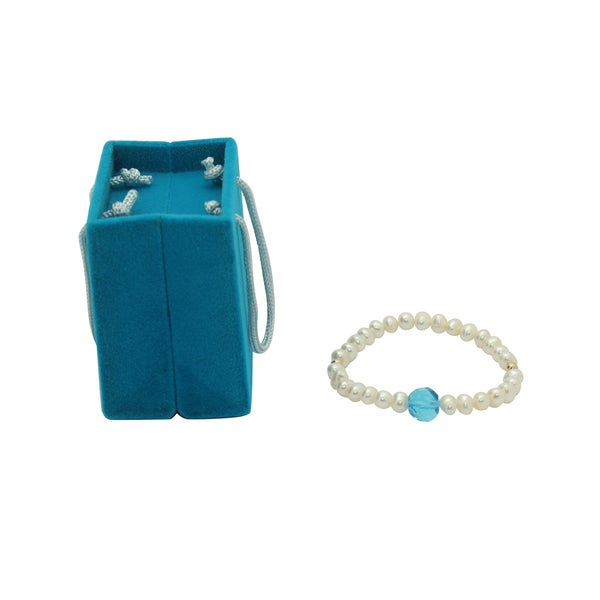 Junior Jewels 14K Gold Bead, White Freshwater Pearl and Blue Crystal Baby Bracelet (7.5 mm)