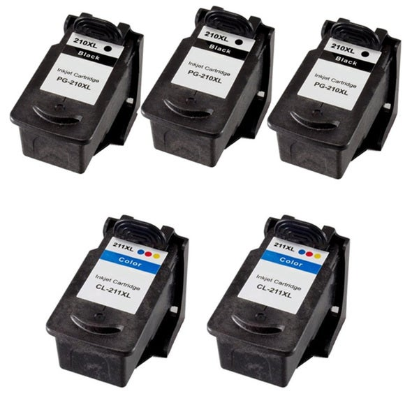 Canon PG210XL CL211XL High Capacity Compatible Black/Color ink Cartridge (Pack of 5)(Remanufactured)