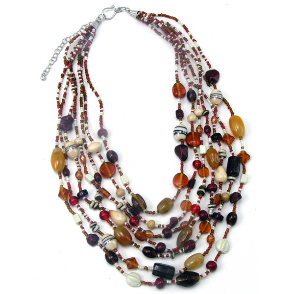 Handmade Glass and Agate Pomegranate Splash Necklace (India)
