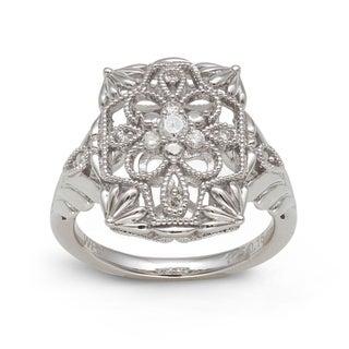 Sterling Silver 1/6ct TDW Diamond Vintage Rectangular Ring (H-I, I2-I3)