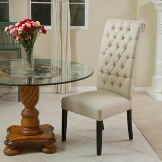 Christopher Knight Home Limon Tall Back Tufted Dark Beige Fabric Single Chair