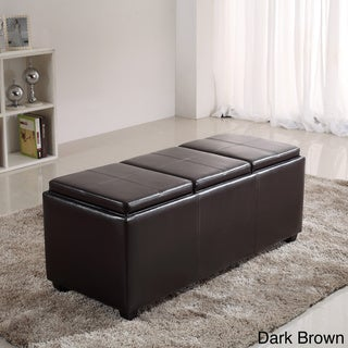 Franklin Extra Large Rectangular  Faux Leather Storage Ottoman with 3 Serving Trays