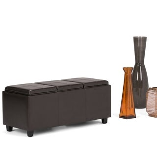 WYNDENHALL Franklin Extra Large Rectangular Faux Leather Storage Ottoman with 3 Serving Trays
