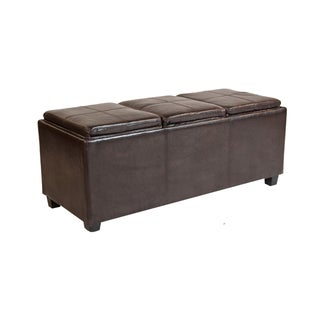 Franklin Extra Large Rectangular Brown Faux Leather Storage Ottoman with 3 Serving Trays