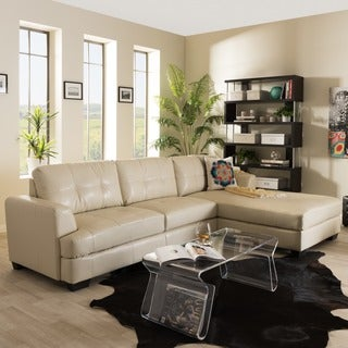 Baxton Studio Cream Bonded Leather Sectional Sofa