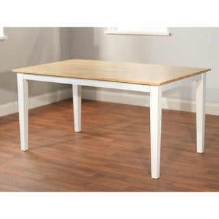 Simple Living Large Shaker Dining Table in White and Natural