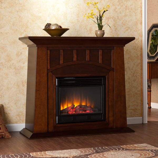 bayard espresso electric fireplace overstock shopping