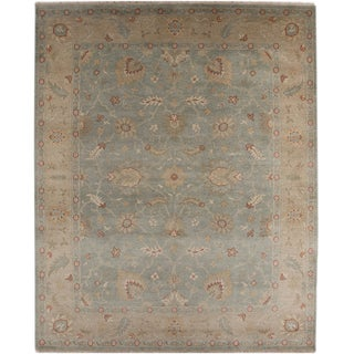 Hand-knotted Oriental Sea Blue Wool Area Rug (9' x 12')