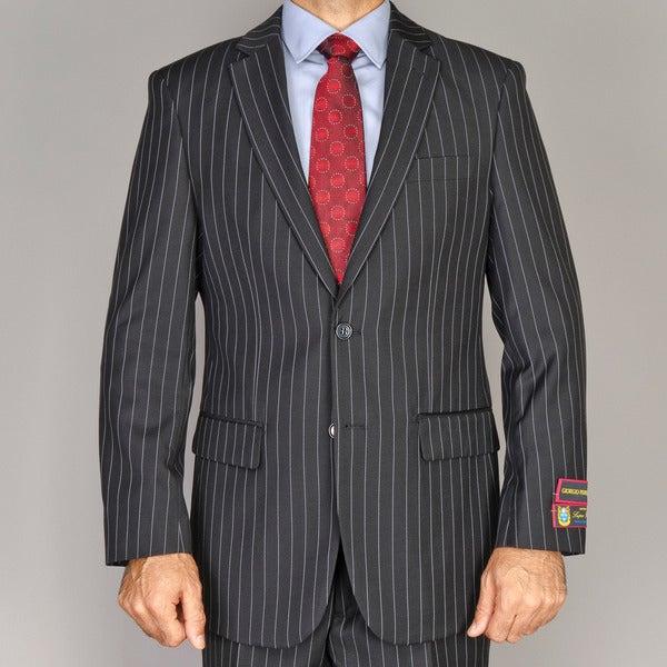 Men's Black Pinstripe 2-button Suit