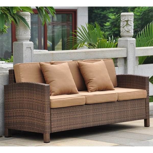International Caravan Barcelona Resin Wicker/Aluminum Outdoor Sofa with Cushions and Throw Pillows