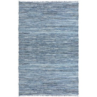 Hand-woven Matador Blue Denim/ Leather Rug (9' x 12')