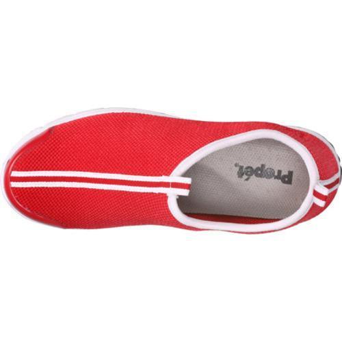 Women's Propet Travel Walker Slip-On Red Stretch Mesh