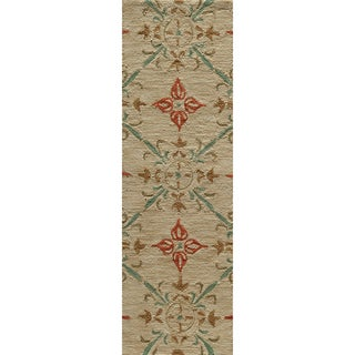 Copia Medallions Beige Hand-Hooked Polyester Rug (2' x 3')