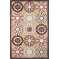 Hand-tufted Copia Pinwheel Gold Polyester Rug