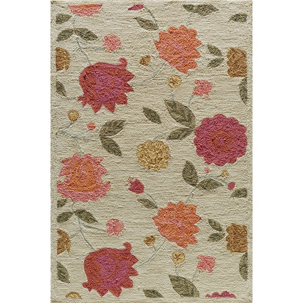 Copia Garden Beige Hand-Hooked Polyester Rug (2' x 3')