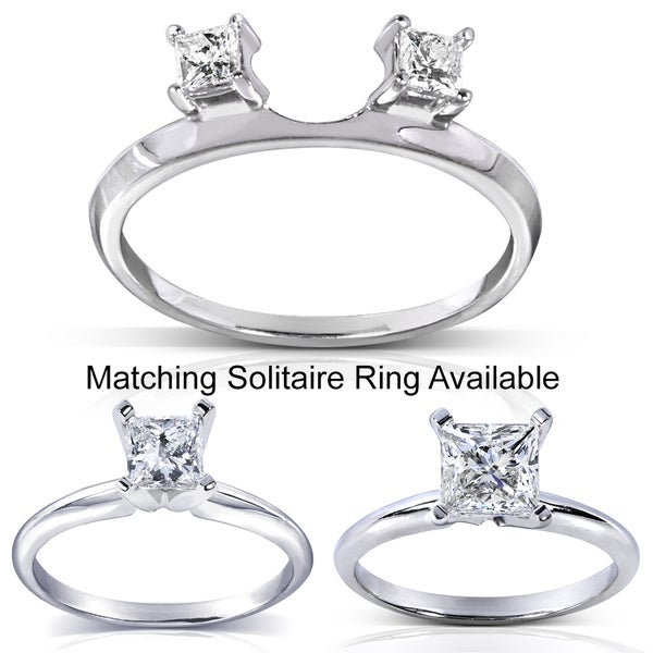 Annello 14k White Gold Princess Cut Diamond Wrap or Princess Cut Solitaire Ring (H-I, I1-I2)