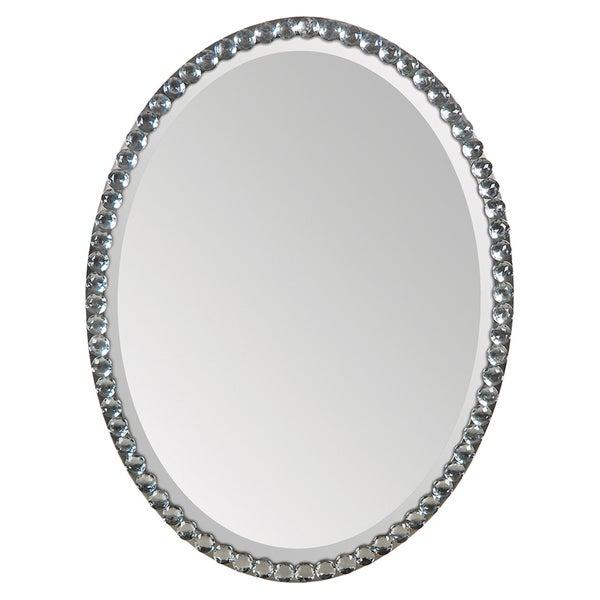 Silver Crystal Frame Oval Mirror