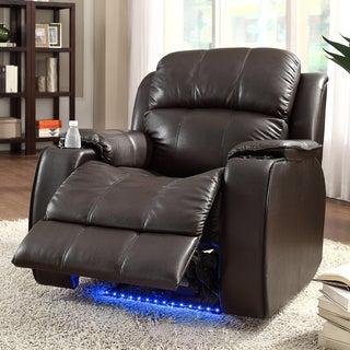 TRIBECCA HOME Garrett Power Recliner Brown Bonded Leather Chair