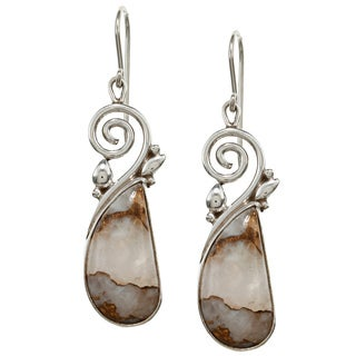 Sterling Silver Abstract Agate Stone Earrings (Nepal)