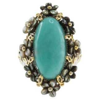 Michael Valitutti Two-tone Amazonite and Shell Flower Ring