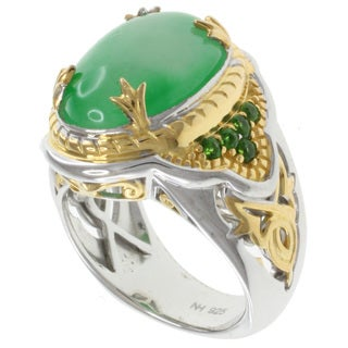 Michael Valitutti Two-tone Silver Green Jade Ring