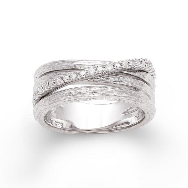Sterling Silver 1/6ct TDW Diamond Three-row Crossover Ring (H-I, I2-I3)