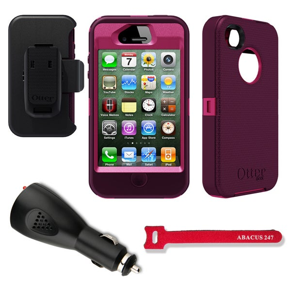 OtterBox Defender iPhone 4/4S Protective Case/ Car Charger/ Velcro Tie