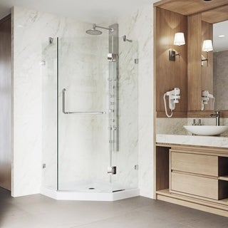 VIGO Frameless Neo-Angle Clear Glass Shower Enclosure with Low-Profile Base