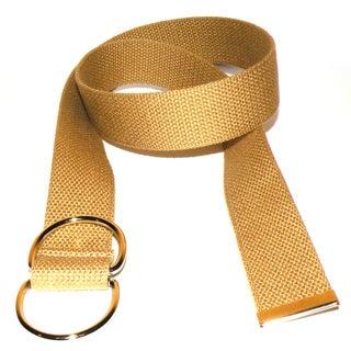 Women's Beige Canvas Double Hoop Belt