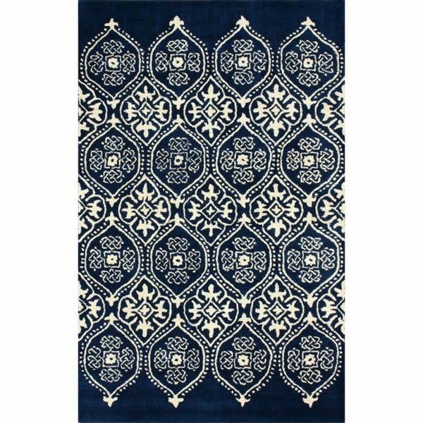 nuLOOM Handmade Royalty Trellis Blue Wool Rug