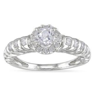 Miadora 14k White Gold White Sapphire and 1/4ct TDW Diamond Ring