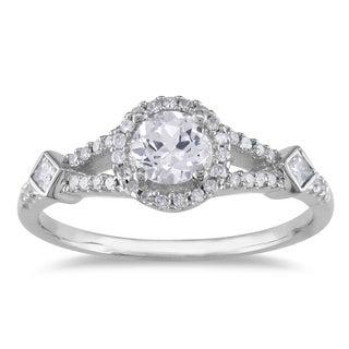 Miadora 14k White Gold White Sapphire and 1/4ct TDW Diamond Ring (G-H, I1-I2))