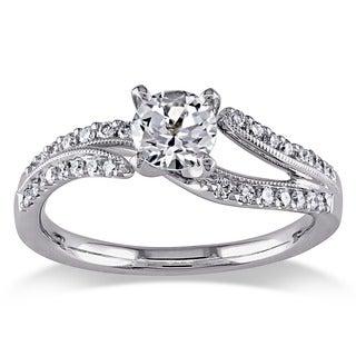 Miadora Signature Collection 18k White Gold White Sapphire and 1/5ct TDW Diamond Ring (H-I, SI2-SI3)