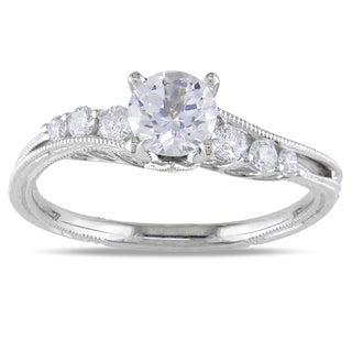 Miadora 18k White Gold White Sapphire and 1/5ct TDW Diamond Ring (H-I, SI2-SI3)