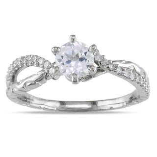 Miadora 18k White Gold White Sapphire and 1/6ct TDW Diamond Ring