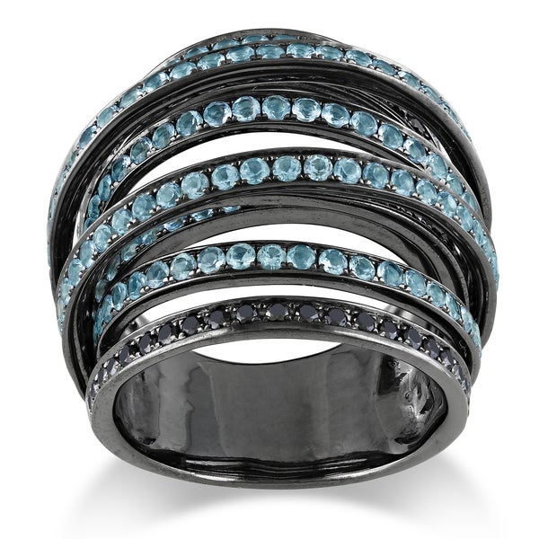 Miadora 14k White Gold Blue Topaz and 3/4ct TDW Black Diamond Ring