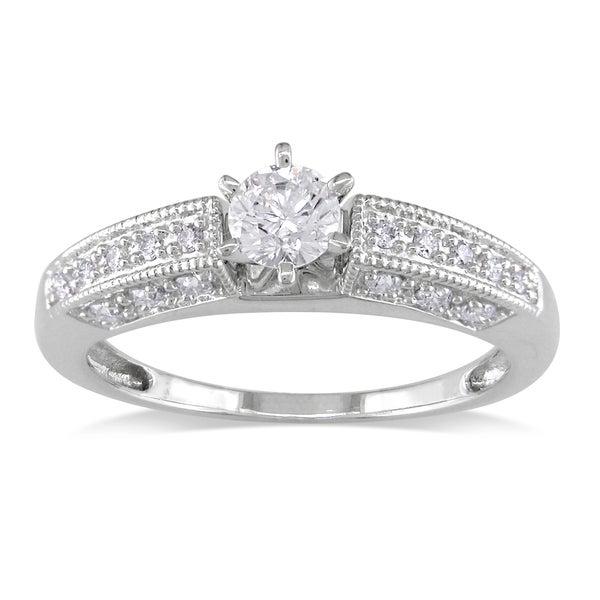 Miadora 14k White Gold 5/8ct TDW Diamond Engagement Ring (G-H, I1-I2)