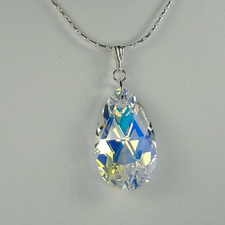 Jewelry by Dawn Large Crystal AB  Pear Sterling Silver Boxed Chain Necklace