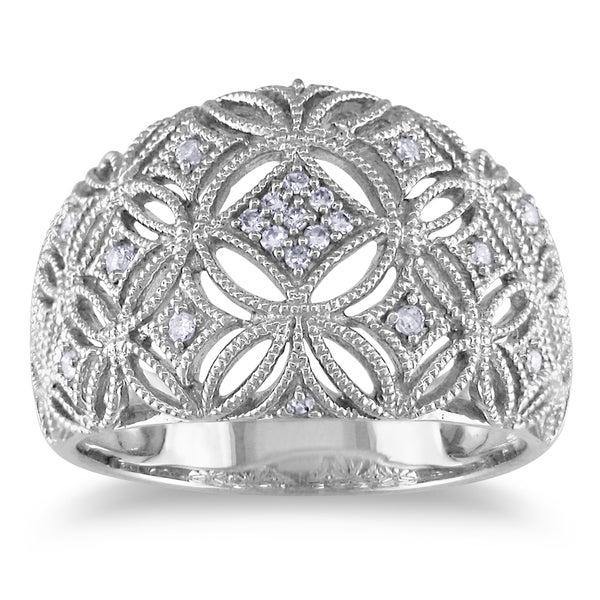 Miadora 10k White Gold 1/10ct TDW Diamond Ring (H-I, I2-I3)