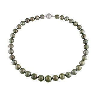 Miadora 14k White Gold Tahitian Pearl and Diamond Necklace (G-H, I1-I2)