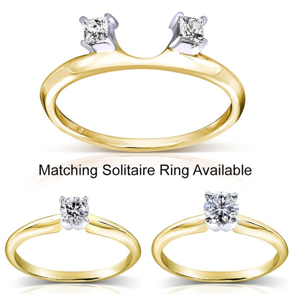 Annello 14k Two-tone Gold Princess Cut Diamond Wrap or Round Cut Solitaire Ring (H-I, I1-I2)