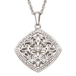 Sterling Silver 1/6 CT TDW Filigree Diamond Necklace (H-I I2)