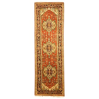 Hand-knotted Serapi Red Wool Rug