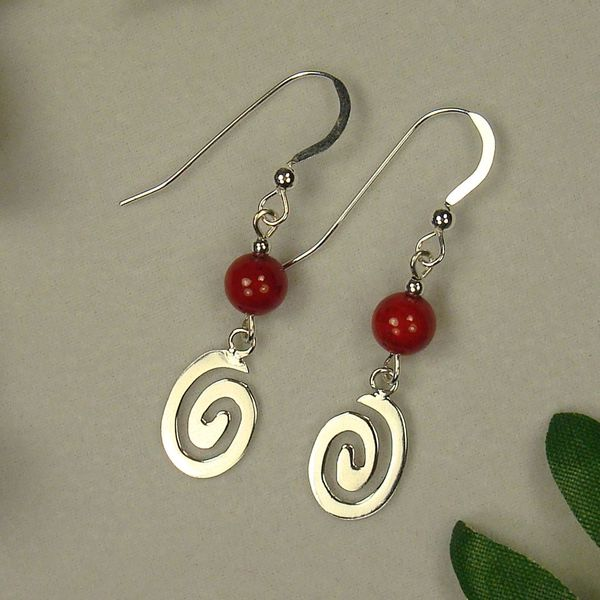 Jewelry by Dawn Red Riverstone With Oval Swirl Sterling Silver Earrings
