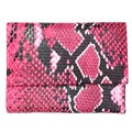 Brandio Women's Pink Snake Print Leather Wallet